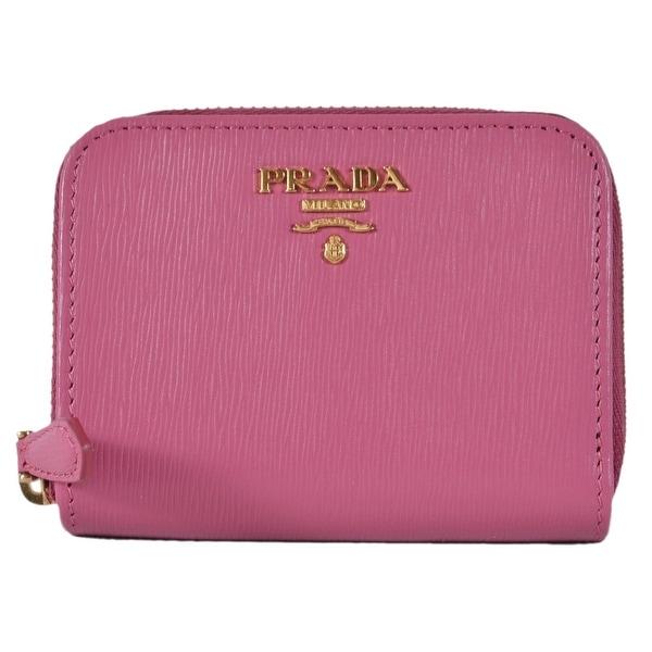 4a0d34492cec Prada 1MM268 2EZZ Fuxia Pink Saffiano Leather Zip Around Coin Purse Wallet  - 4.13