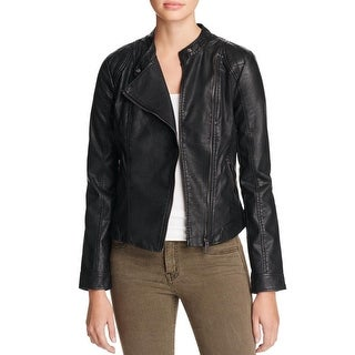 Vero Moda Womens Motorcycle Jacket Faux Leather Quilted Shoulder