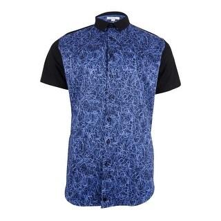 Calvin Klein Men's Colorblocked Scribble Print Cotton Shirt - submerge