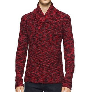 Calvin Klein NEW Red Black Mens 2XL Cable Knit Shawl Collar Sweater