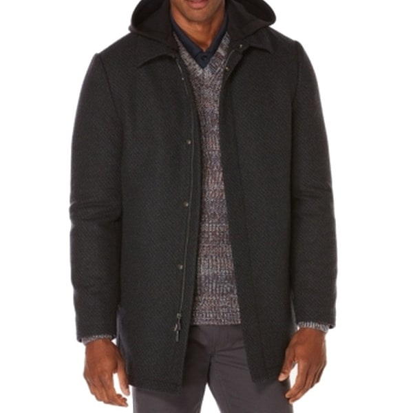 98c92813de Shop Perry Ellis NEW Charcoal Men s Black Size XL Hooded Wool Peacoat -  Free Shipping Today - Overstock.com - 18307918
