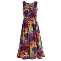 Catalog Classics Women's Purple Smocked Dress - Floral Sleeveless Midi Length