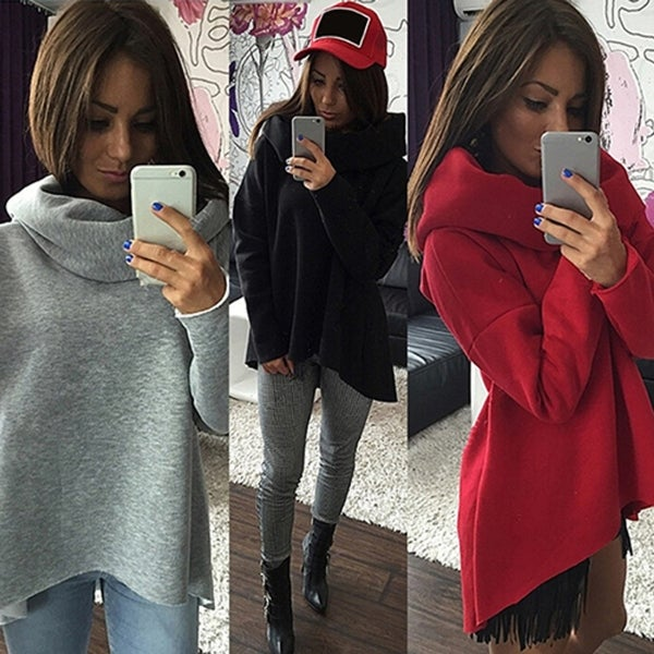 Women Casual Cowl Neck Long Sleeve Loose Sweatshirt Fashion Pullover Top Blouse