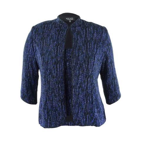 Xscape Women's 2 Piece Glitter Flecked Jersey Blouse Set - Blue multi - L
