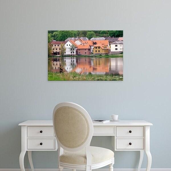 Easy Art Prints Janis Miglavs's 'Man Fishing In Lake In Latvia' Premium Canvas Art