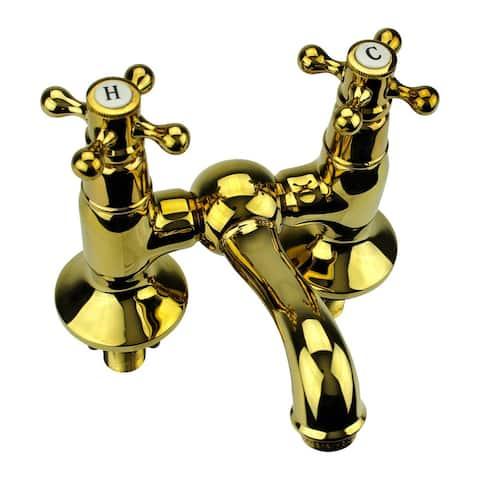 "Renovators Supply 4"" Centerset Chrome Bridge 2 Cross Handle Bathroom Tub Faucet"