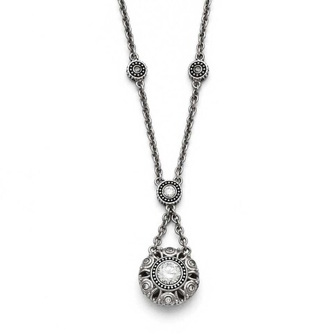 Chisel Stainless Steel Polished and Antiqued CZ with 2in ext. Necklace - 18.5 in