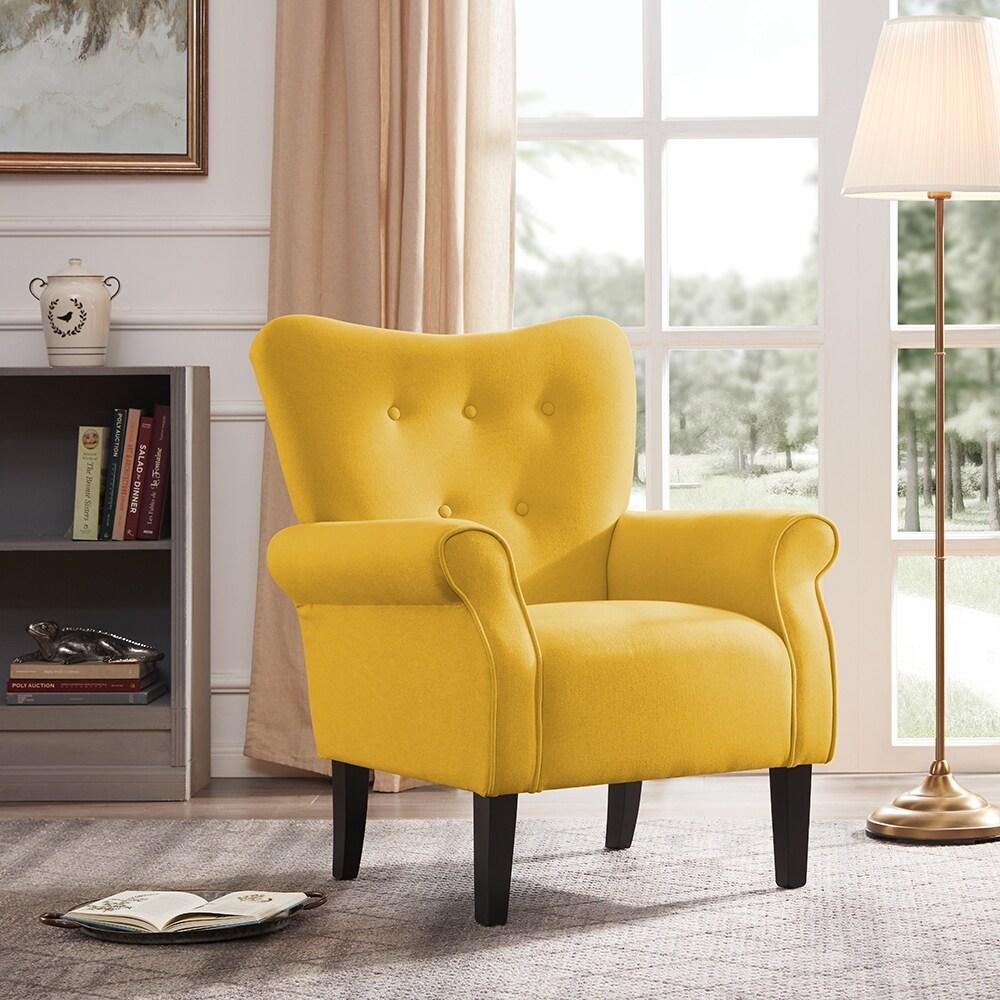 Belleze Linen Chair Armrest Living Room w/ Wood Leg, Citrine Yellow -  standard