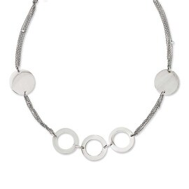 Chisel Stainless Steel Polished Circles 36in Slip-on Necklace - 36 in
