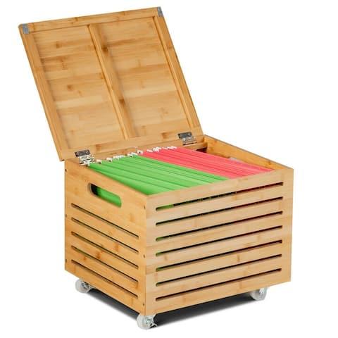 Bamboo Hanging and Rolling File Storage Organizer-Natural