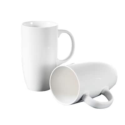 Panbado 18 oz. White Porcelain Mugs, Set of 2