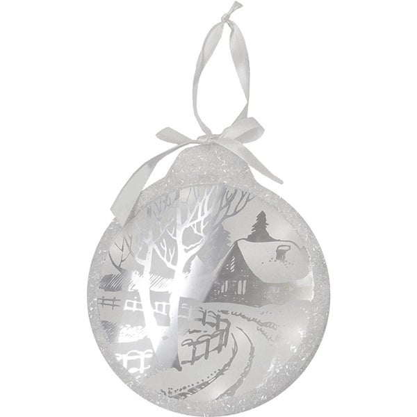 "8"" Pre-Lit LED White Sparkle Winter Cottage Scene Round Christmas Ornament"