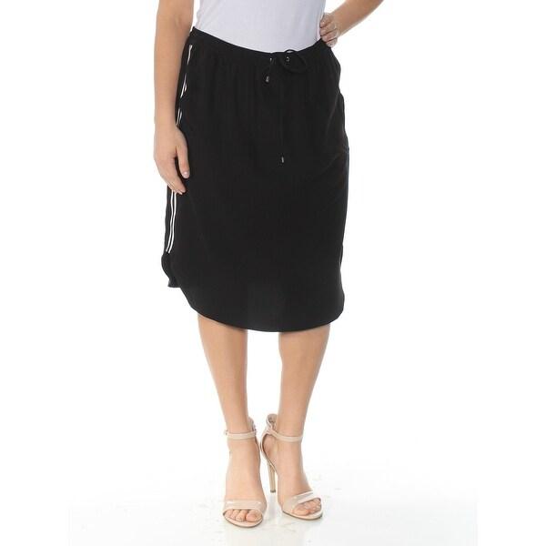 7ce708c7d3d8d RALPH LAUREN Womens Black Crepe Below The Knee Skirt Size: 12