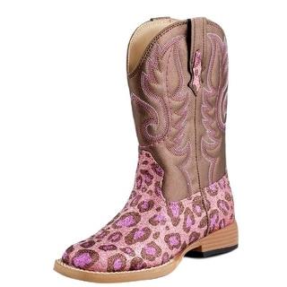 Roper Western Boots Girls Leopard Bling Pink Brown 09-018-1901-0072 PI
