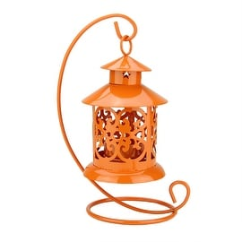 "8.75"" Shiny Orange Votive or Tealight Candle Holder Mini Lantern with Hanger"
