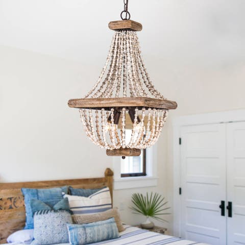 Farmhouse Wood Beaded Basket 4-Light Empire Chandelier