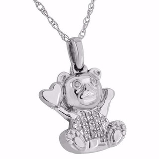 10K White Gold Teddy Bear Heart Pendant Free Necklace 0.06CT Real Diamonds Ladies Cute