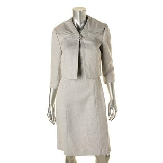 Tahari ASL Womens Viviana Metallic Textured Dress With Jacket