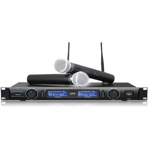 Technical Pro Professional UHF Dual Wireless Microphone System w/ UHF Mics, Individual XLR, LCD Display, Mount bracket