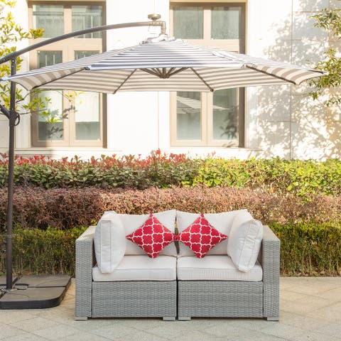 """Luxton 64"""" Wide Outdoor Wicker Loveseat with Cushions"""