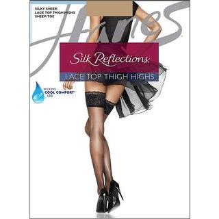 Hanes Silk Reflections Lace Top Thigh Highs - ab