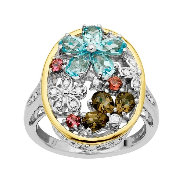 1 1/3 ct Multi-Stone Flower Ring with Diamonds in Sterling Silver and 14K Gold - Blue