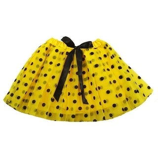 Little Girls Yellow Black Polka Dots Satin Elastic Waist Ballet Tutu Skirt 2-8Y