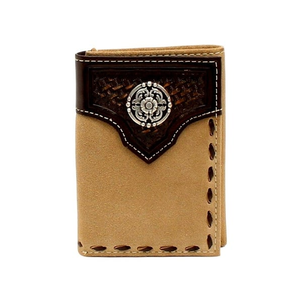 Ariat Western Wallet Mens Trifold Concho Basket weave Natural - One size