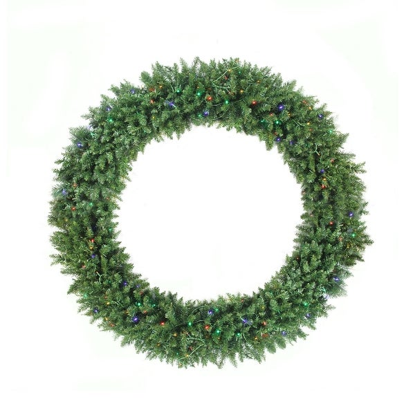 5' Pre-Lit Buffalo Fir Commercial Artificial Christmas Wreath - Multi LED Lights - green