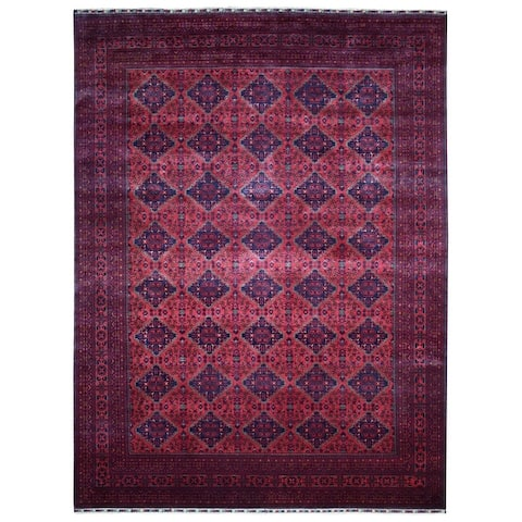 """Shahbanu Rugs Afghan Khamyab Geometric Design Deep and Saturated Red Hand Knotted Soft Vibrant Wool Oriental Rug (9'9"""" x 13'0"""")"""