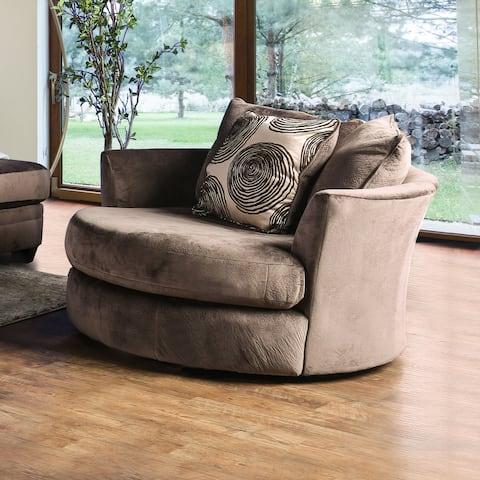 Furniture of America Jeta Contemporary Fabric Padded Swivel Chair