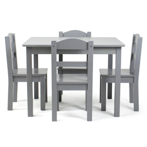 Humble Crew Kids Wood Table and 4 Chair Set, Grey, Camden Collection - Square
