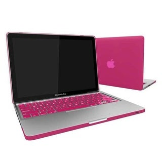 """Rubberized Hard Snap-On Case Cover for Apple MacBook Pro 13"""" with Keyboard Skin Fits Model A1278 - Hot Pink"""