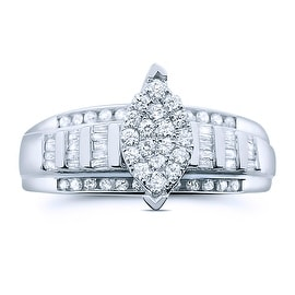 10K White Gold Engagement Ring 3 in 1 Style Marquise Shaped Top Cluster 1/2cttw(i2/i3, I/j)