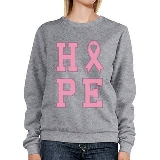Hope Pink Ribbon Sweatshirt Grey Pullover Breast Cancer Awareness