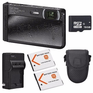 Sony Cyber-shot DSC-TX30 Black Digital Camera with 2 Batteries Bundle