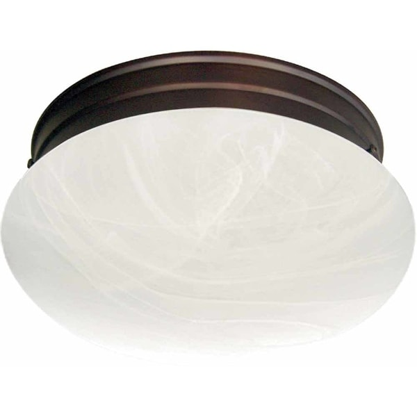 "Volume Lighting V7786 1-Light 7"" Flush Mount Ceiling Fixture with White Alabaster Glass Shade"