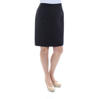 Womens Black Above The Knee Shift Wear To Work Skirt Petites Size 14