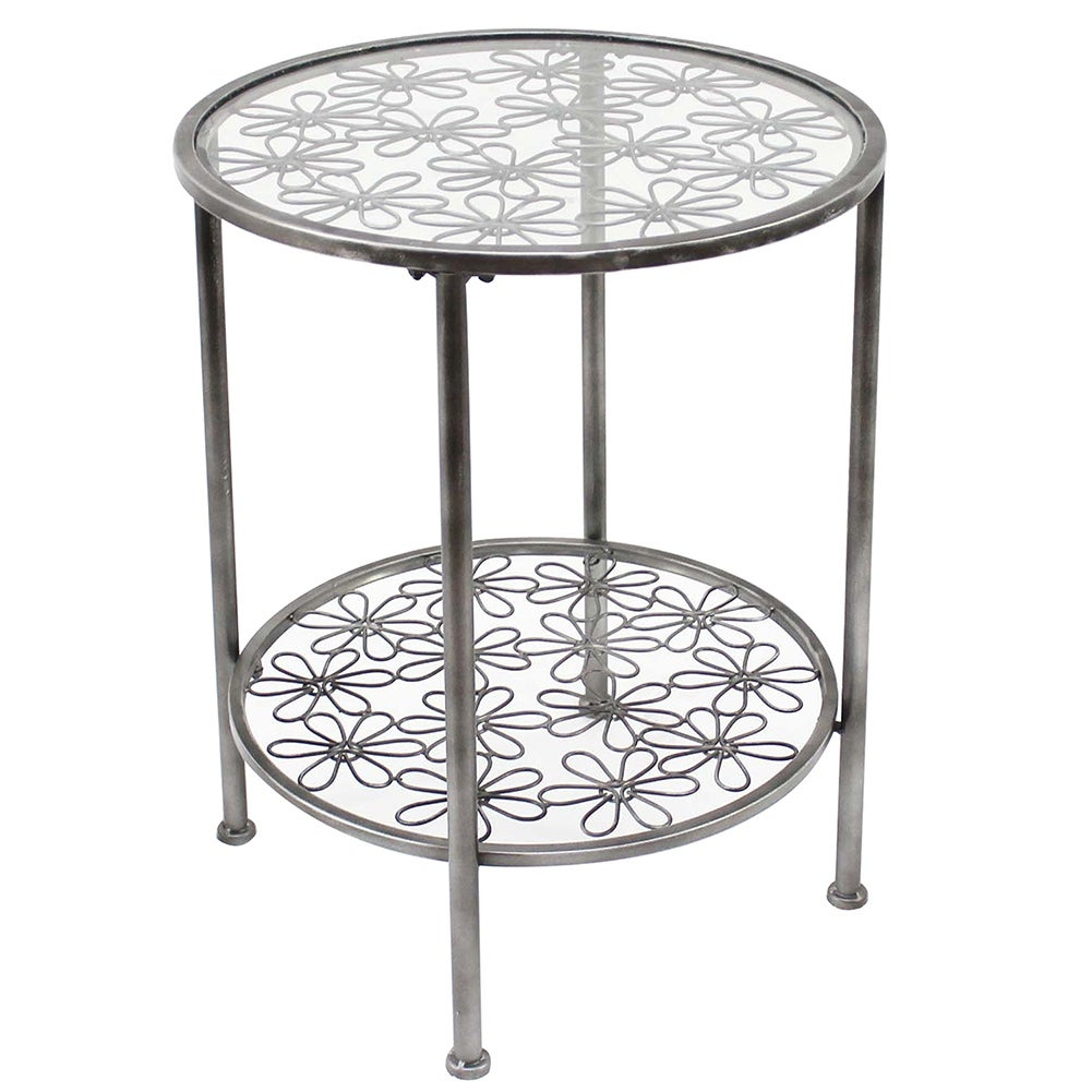 - Shop Addison Daisy Design Round Grey Metal Accent Table W/Glass Top - 25 X  20 X 20 Inches - On Sale - Overstock - 17026595