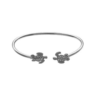 Kabana Sea Turtle Bangle Bracelet in Sterling Silver - White