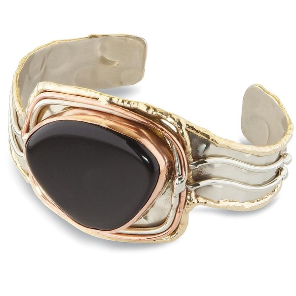 "Women's Onyx Mixed Metal Silver, Brass and Copper Cuff Bracelet - 1 1/2"" Wide - Black"