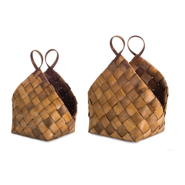 "Set of 4 Brown Flexible Handmade Woven Roomy Baskets 21"" - N/A"