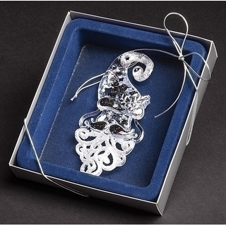 """5.25"""" Blue Boxed Clear and Silver Glittered Fancy Santa Christmas Ornament"""