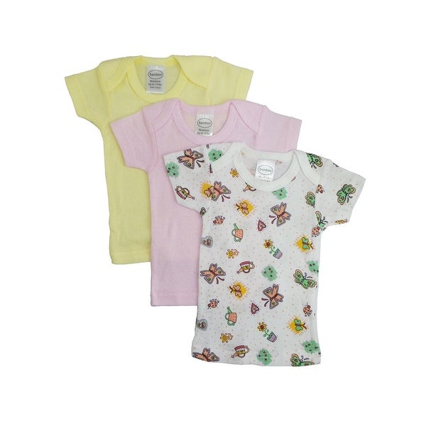 Bambini Baby Girl's Yellow, Pink, Printed Rib Knit Short Sleeve T-Shirt 3 - Pack