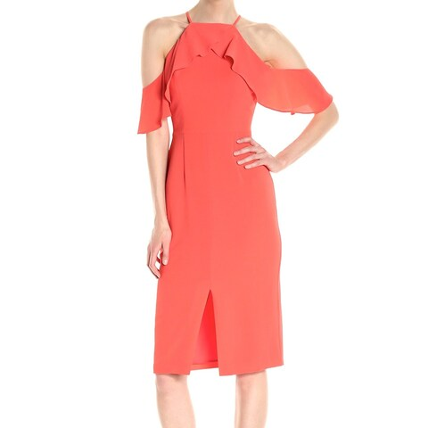 Maggy London Orange Womens Size 16 Cold Shoulder Sheath Dress