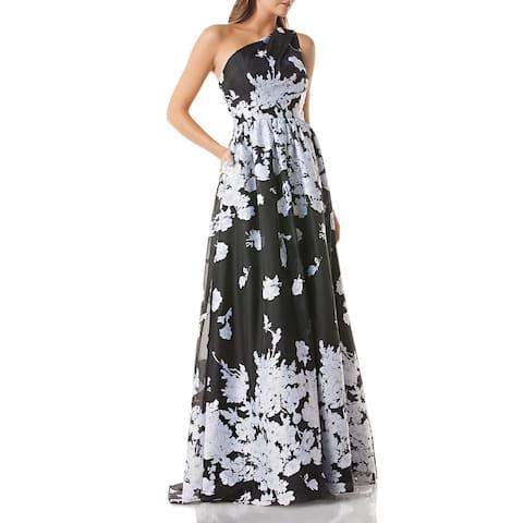 Carmen Marc Valvo Womens Evening Dress One Shoulder Floral