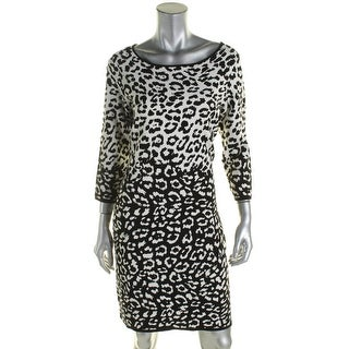 American Living Womens Sweaterdress Knit Animal Print - l
