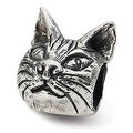 Sterling Silver Reflections Maine Coon Cat Head Bead (4mm Diameter Hole) - Thumbnail 0