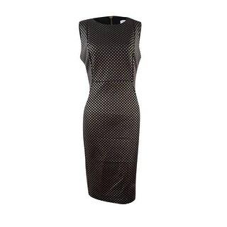 Calvin Klein Women's Textured Scuba Knit Sheath Dress - Black/gold (2 options available)