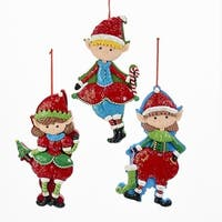 Pack of 6 Red and Green Glittered Christmas Elf Ornaments 8""
